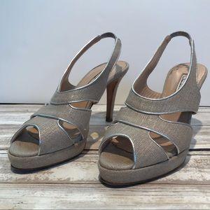 OSCAR DE LA RENTA Linen & Leather Beige Heels - 7